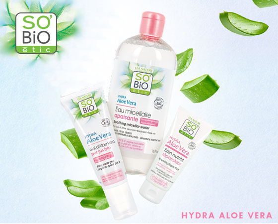 Routine beauté Hydratante à l'Aloe Vera Bio de la marque So'Bio étic