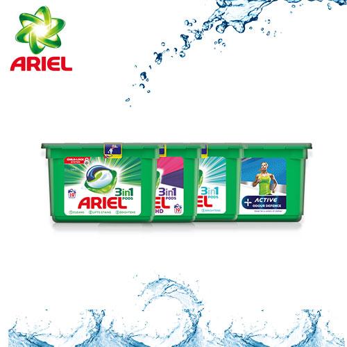 capsules de lessive Ariel Pods avec TestClub